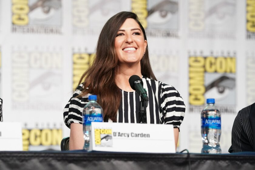 D'Arcy Carden on a panel at Comic-Con 2019