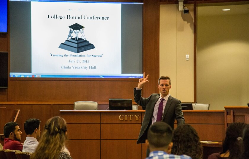 Trevor Blair gives a presentation to first and second year college students during the Chula Vista Promise Neighborhood's College Bound Conference on Monday.