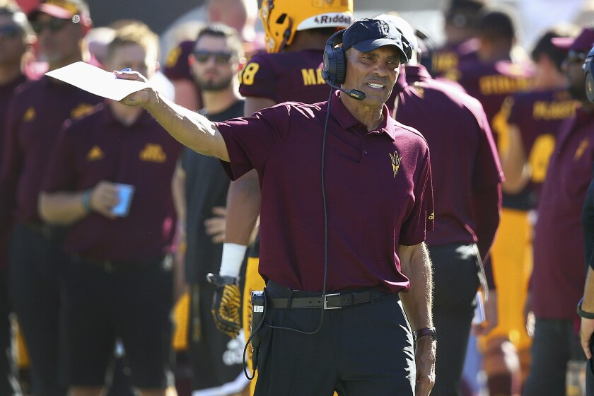 Arizona State head coach Herm Edwards shouts instructions during the second half against Washington State on Oct. 12 in Tempe, Ariz.
