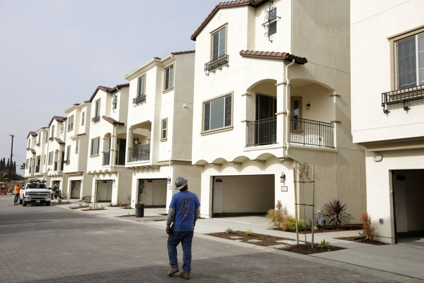 A new-home community in Anaheim last year. Construction is on the upswing in California, though it still trails the rate of population growth.