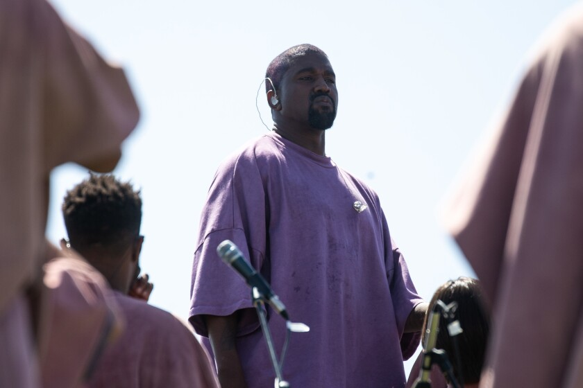 "Kanye West during ""Sunday Service"" at Coachella in April 2019."