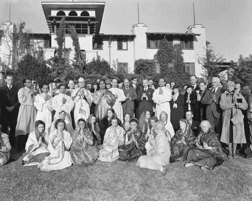 Paramahansa Yogananda with students at Self-Realization Fellowship headquarters on New Year's Day 1937.
