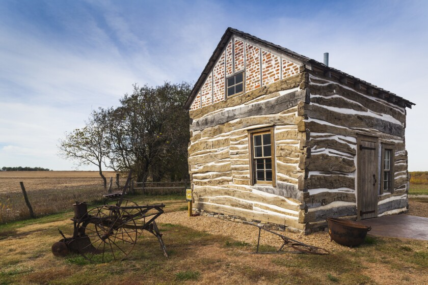A cabin in Homestead National Monument in Beatrice, Neb.