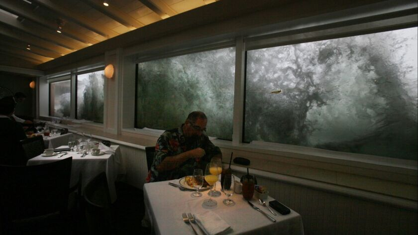 Diners at the Marine Room in La Jolla were treated to high surf tableside Wednesday morning.