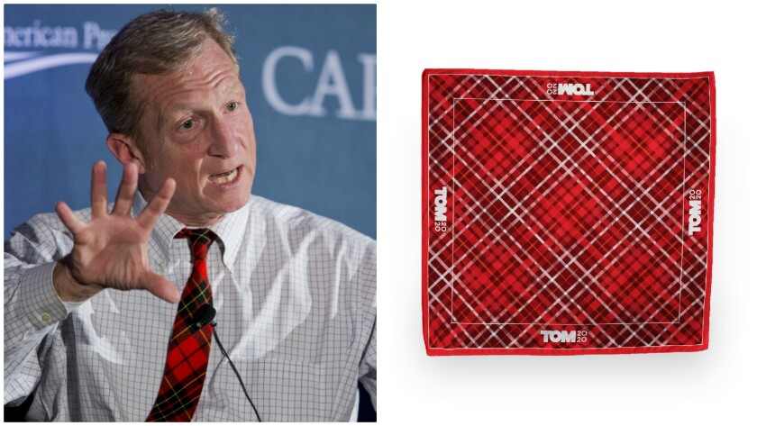 Candidate Tom Steyer has a penchant for plaid.