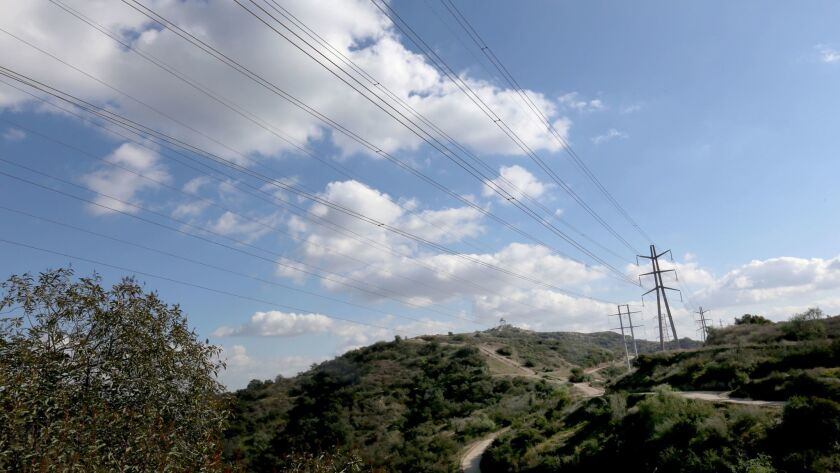 LA CANADA FLINTRIDGE FEBRUARY 28, 2018: Power lines are seen on the Descanso Trail on February 28, 2