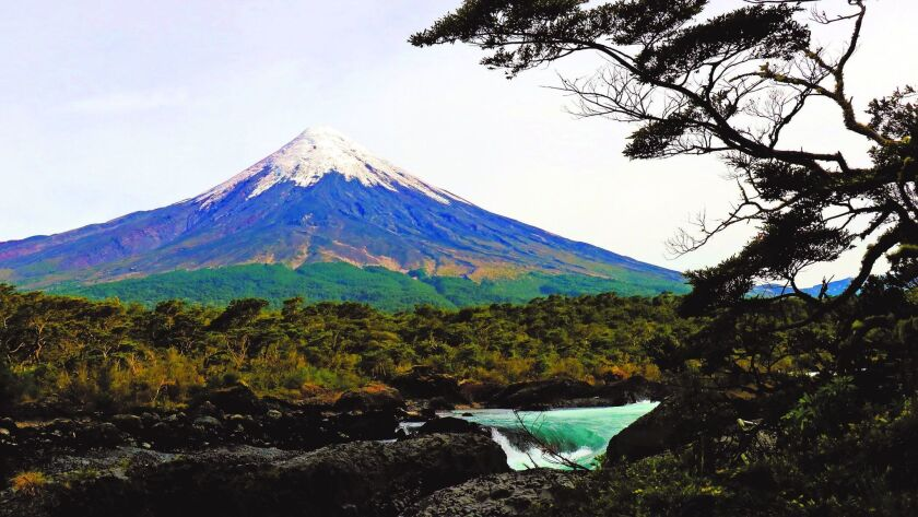 Located near Puerto Montt, Chile, Petrohue Falls provides a dramatic view of the Osorno Volcano.