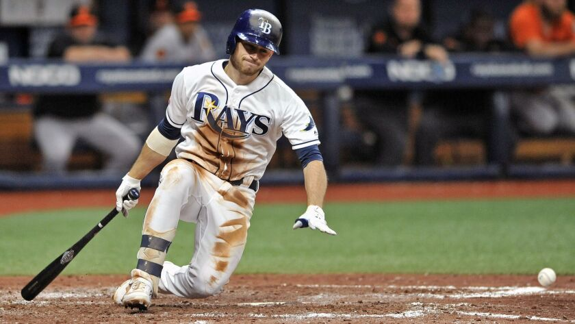 Tampa Bay Rays' Brandon Lowe falls to the dirt after hitting a foul tip off his right leg on a pitch