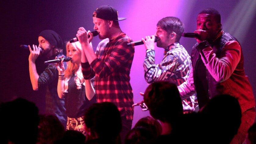 Avi Kaplan, Kirstie Maldonado, Scott Hoying, Mitch Grassi and Kevin Olusola of Pentatonix performs at the Roxy in West Hollywood.