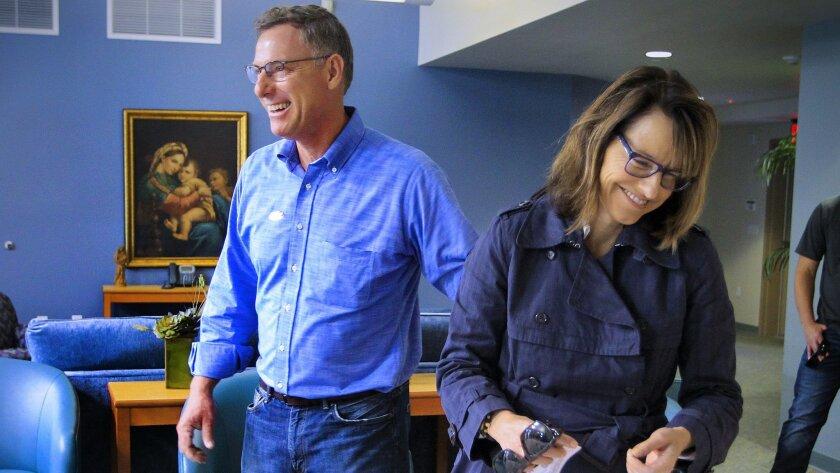 Scott Peters and his wife, Lynn Gorguze. [Union-Tribune file]