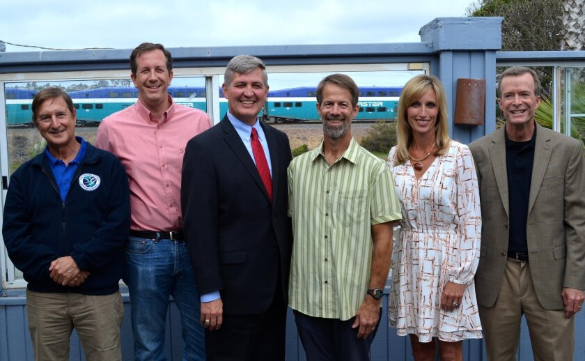 The Grauer School Founder and Head Stuart Grauer, Solana Beach Mayor David Zito, Supervisor Dave Roberts, San Elijo Lagoon Conservancy Executive Director and Principal Scientist Doug Gibson, Encinitas Mayor Kristin Gaspar and conservancy board President Doug Gillingham.