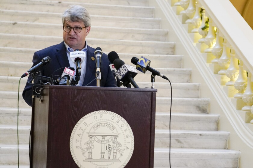 Gabriel Sterling, a top Georgia election official, speaks at a news conference at the state Capitol.