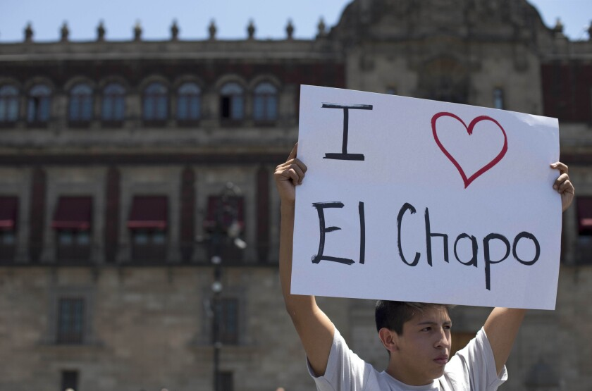 A fan of El Chapo staged an April protest outside the National Palace in Mexico City. He and other demonstrators professed their support for the accused drug lord.