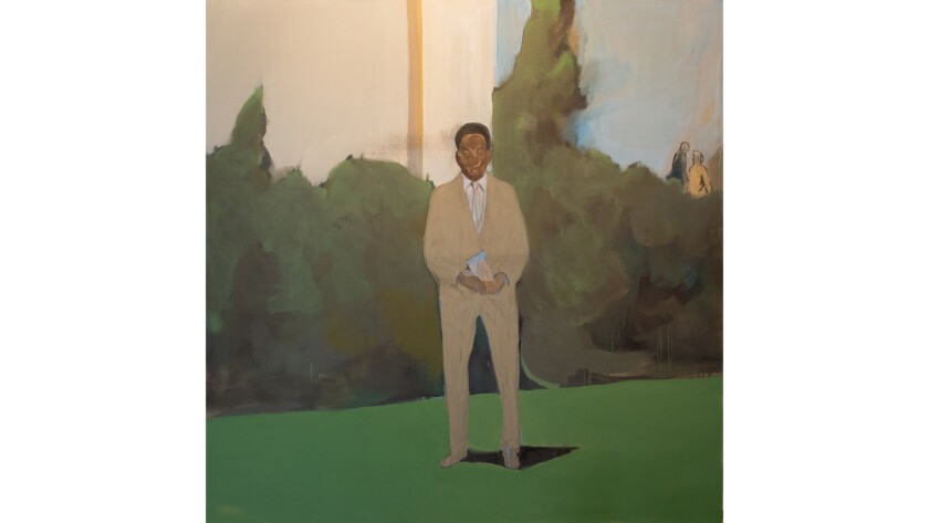 "Davis is known primarily as a painter — producing indeterminate, deeply psychological scenes featuring partially blurred figures, such as the painting ""Found Photo,"" from 2015."