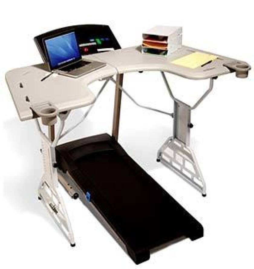 Walk calories and aches away: Four-foot wide, adjustable-height, stand-alone platform that fits over the front end of a treadmill and has space for a computer, phone, printer and other objects.
