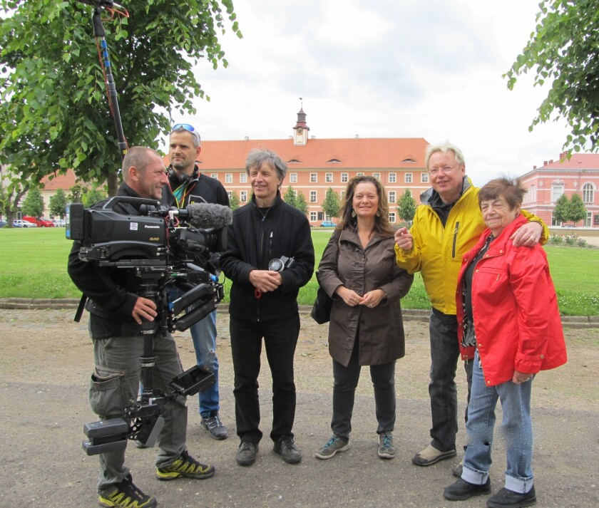 On location at Terezin Concentration Camp with Director of Photography Michael Krejci and crew , Co-Producers and Co-Directors Cheryl Rattner Price and Joe Fab and Ela Weissberger.