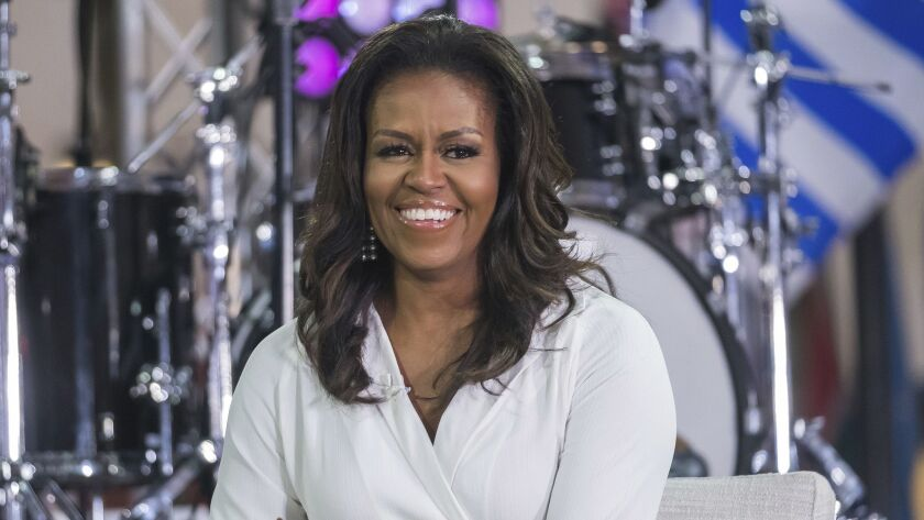 """Former First Lady Michelle Obama celebrating the International Day of the Girl on the """"Today"""" show in New York on Oct. 11, 2018."""