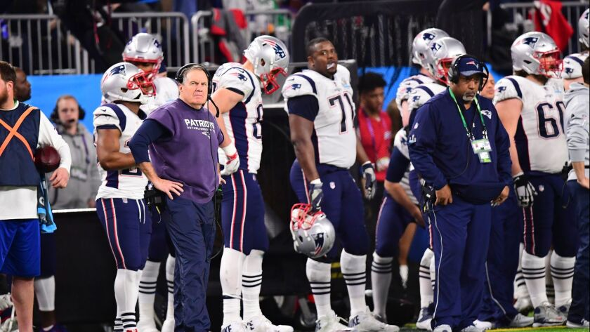 New England Patriots head coach Bill Belichick in the fourth quarter of Super Bowl LII between the Philadelphia Eagles and New England Patriots at U.S. Bank Stadium in Minneapolis,
