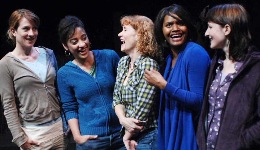 """Karson St. John, Kaja Amado Dunn, Cynthia Gerber, Monique Gaffney and Erika Beth Phillips (left to right) are cast in """"Brownie Points"""" at Lamb's Players Theatre. The production marks the Lamb's debuts of St. John and Gaffney."""