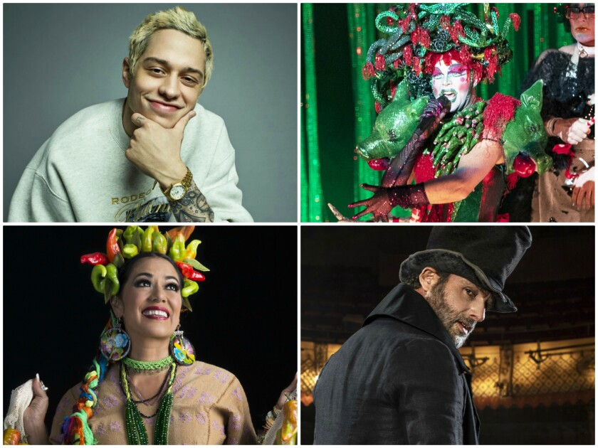 Pete Davidson, left, Taylor Mac, Andrew Lincoln and Lila Downs