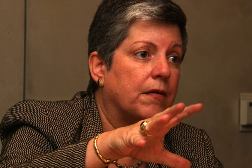 UC President Janet Napolitano announced new policies on food research and efforts to reduce world hunger.