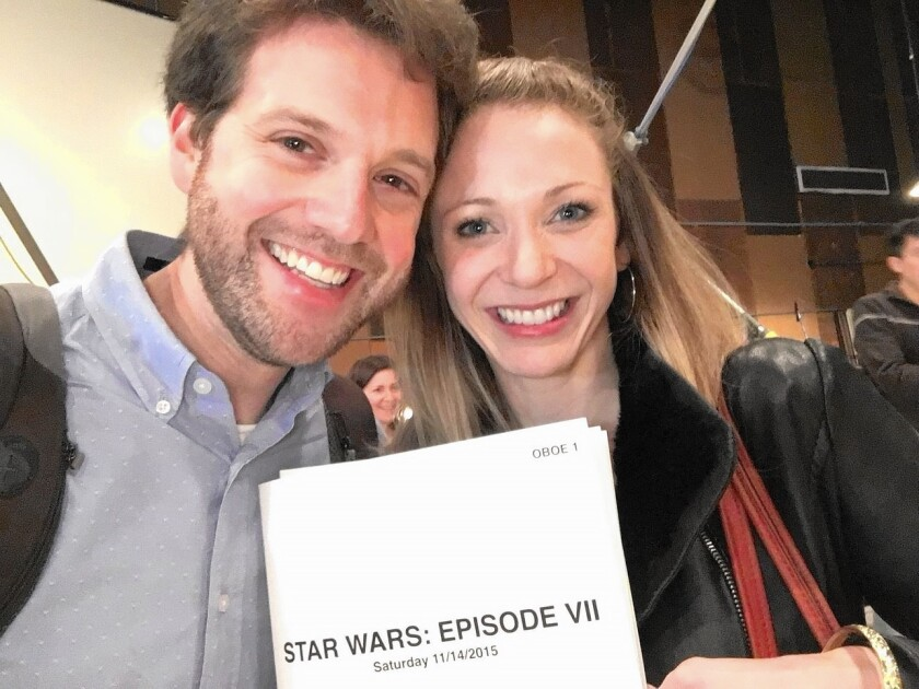 """Benjamin Smolen, flute, left, and Jessica Pearlman Fields, oboe, were two of the Pacific Symphony musicians who performed on the """"Star Wars: The Force Awakens"""" soundtrack."""