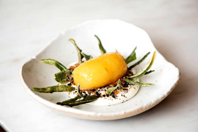 Ben Shewry's potato dish from the Curtis Stone dinner during Food Bowl 2018.