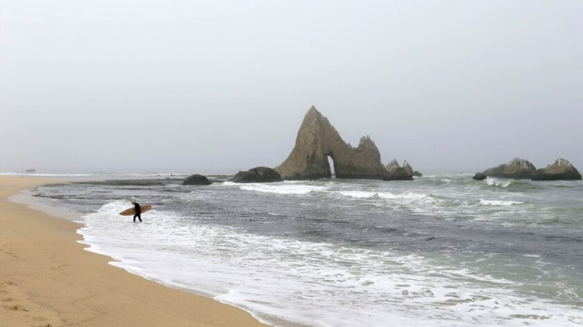 Mark Massara, lawyer and consultant for Surfrider, heads in from surfing in front of shark's tooth rock at Martin's Beach.