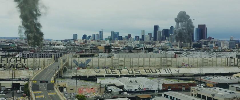 """Los Angeles under siege in the movie """"Songbird."""""""