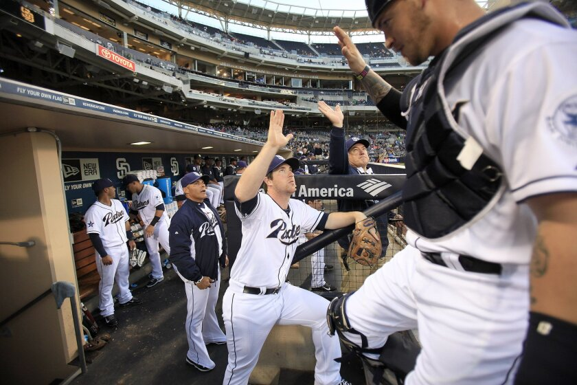 The Padres signed infielder Jedd Gyorko through the 2019 season with an option for 2020.  He led the Padres in home runs(23) and had 63RBI last season.  Gyorko gave a high five to teammates before the Padres came out to play Monday night.