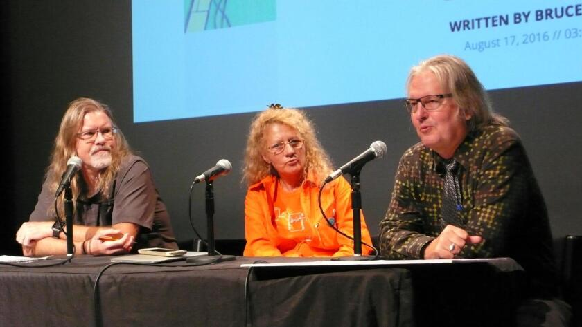 Panelists Sheldon Brown, Jasmina Tešanović and Bruce Sterling discuss homes of the future at the Arthur C. Clarke Center for Human Imagination.