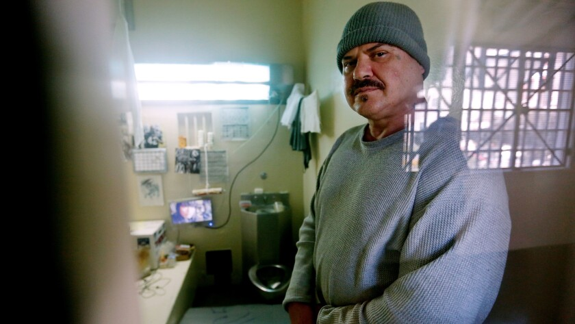 Death row inmate Scott Pinholster in a private cell at the adjustment center at San Quentin State Prison.