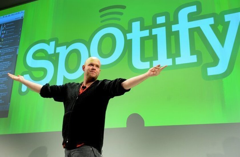 Daniel Ek, chief executive of Spotify, speaks at a news conference in New York in 2011. The service just raised $100 million from investors, giving it a valuation of about $3 billion.