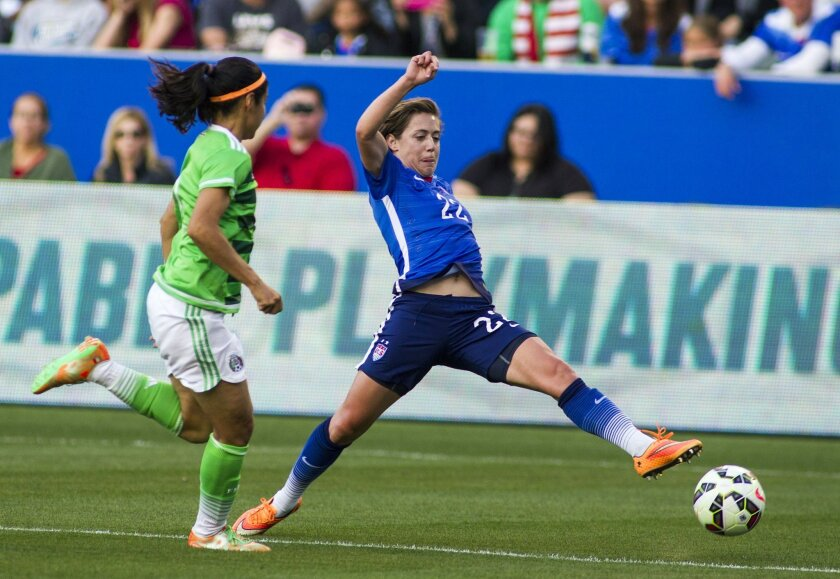 FILE - In this May 17, 2015 file photo, United States' defender Meghan Klingenberg, right, tries to control a ball against Mexico's defender Kenti Robles during the first half of their friendly soccer match, in Carson, Calif. With each match the Americans play and through every rigorous training session, Klingenberg and the defense become more comfortable together on a new-look back line ahead of their World Cup opener 2 1/2 weeks from now against Australia in Winnipeg. (AP Photo/Ringo H.W. Chiu, File)
