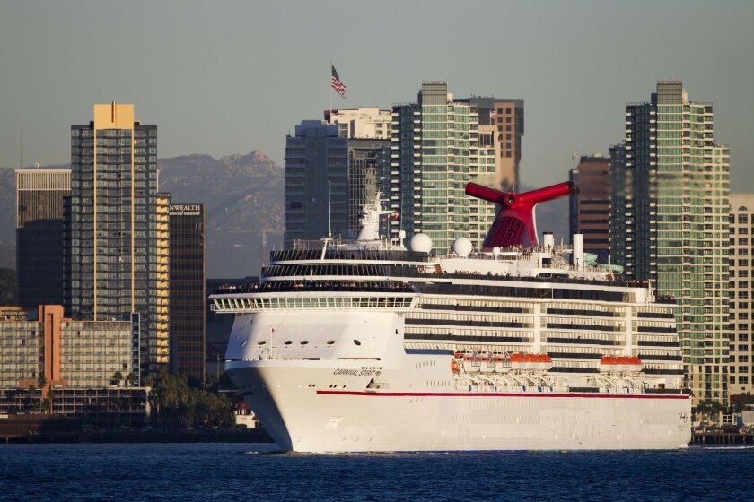 The Carnival Spirit, which no longer comes to San Diego, is seen here in 2011 bound for a 5-day cruise to Mexico.