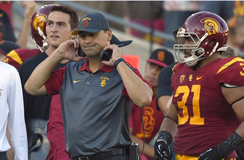 USC Coach Steve Sarkisian reacts to a penalty call during a game against Stanford on Sept. 19.