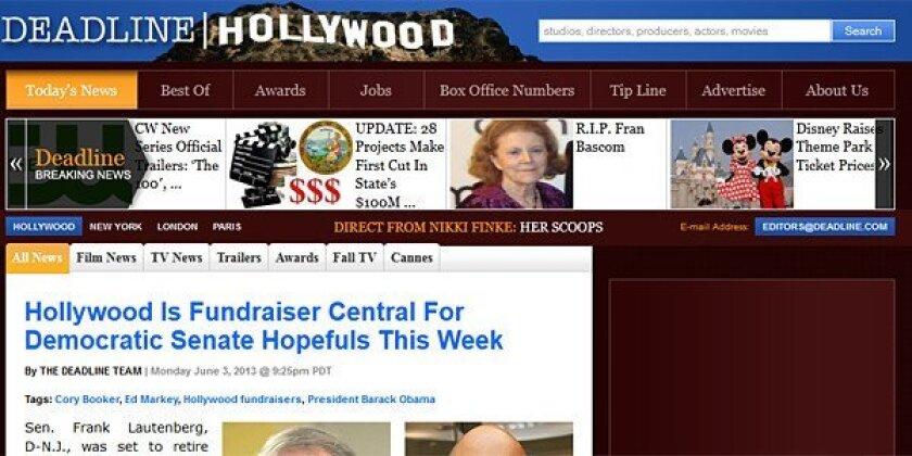 Screenshot of Deadline Hollywood website.
