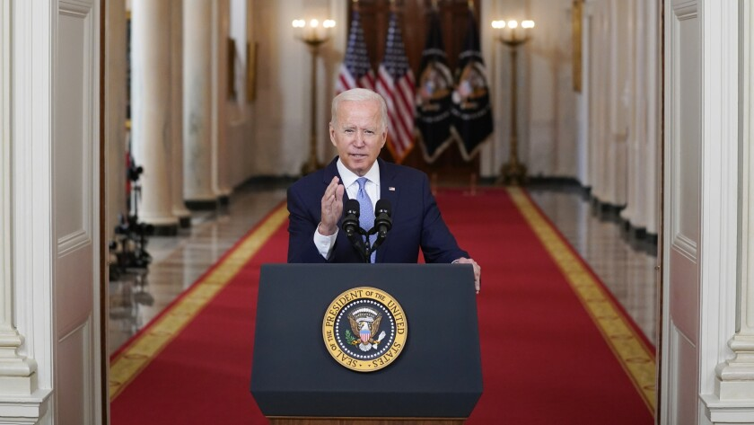 President Joe Biden speaks about the end of the war in Afghanistan on Tuesday.
