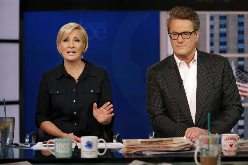 """Morning Joe"" co-hosts Mika Brzezinski, left, and Joe Scarborough."