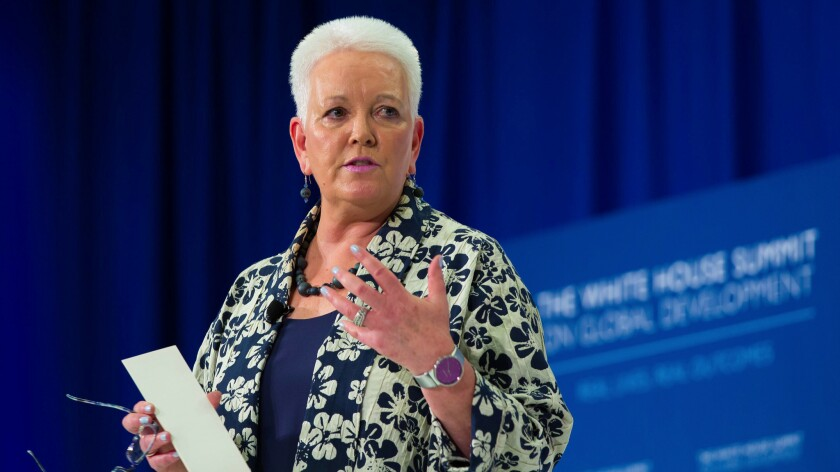 U.S. Agency for International Development Administrator Gayle Smith welcomes guests to the White House Summit on Global Development in Washington, hosted by President Obama on July 20, 2016.