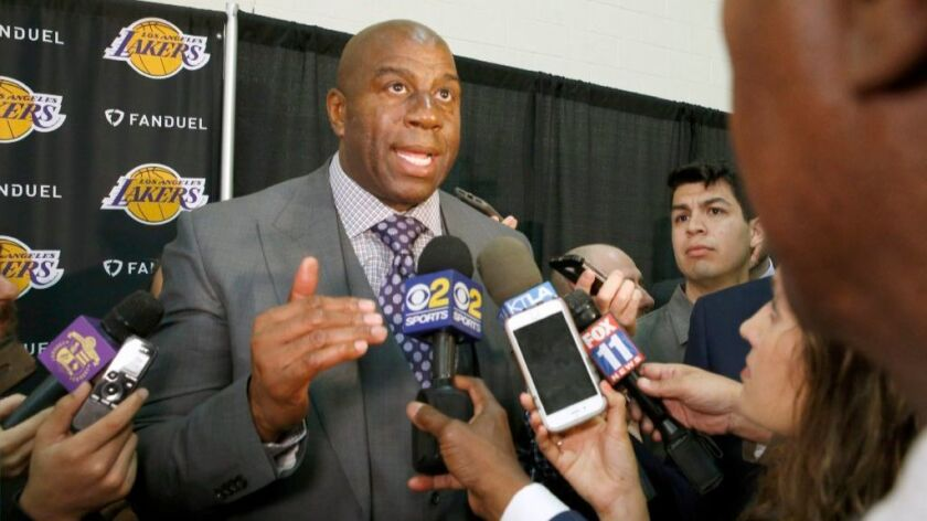 In February, the Lakers named Magic Johnson their new president of basketball operations.