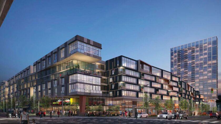 A rendering of the Cumulus project in West Adams. City commissioners approved the proposal for the high-rise tower and shopping center last year.