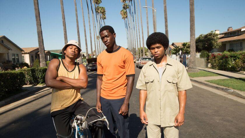 "Malcolm Mays as Kevin, Damson Idris as Franklin, Isaiah John as Leon in the pilot of FX's ""Snowfall."""