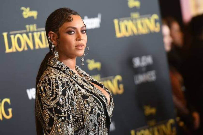 "US singer/songwriter Beyonce arrives for the world premiere of Disney's ""The Lion King"" at the Dolby theatre on July 9, 2019 in Hollywood. (Photo by Robyn Beck / AFP) (Photo credit should read ROBYN BECK/AFP/Getty Images)"