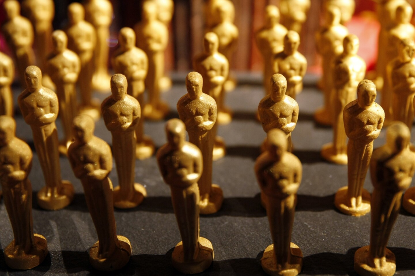 An army of chocolate Oscar statuettes stands ready to be offered at the Oscars Governors Ball.