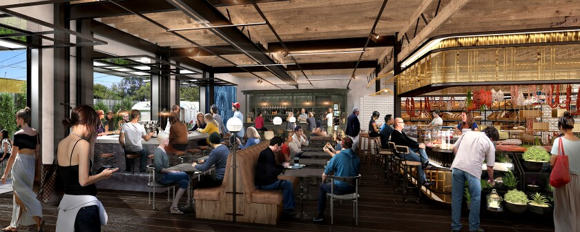 This artist's rendering shows Citizen Public Market, which is under construction in Culver City and is set to open in the fall. The food hall is being developed in a building that was once headquarters to the Citizen newspaper.