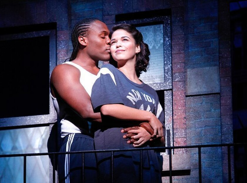 """Rogelio Douglas Jr. and Arielle Jacobs in the traveling cast of the play """"In The Heights."""""""