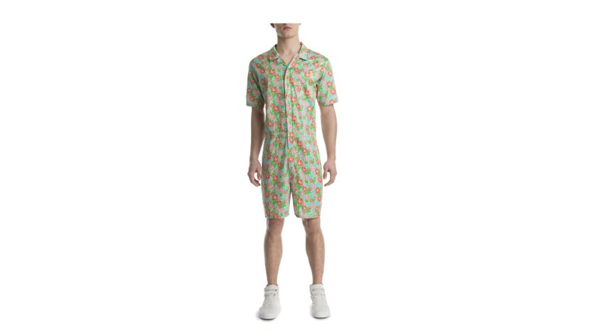 Oversized woven jumpsuits for men in floral/tropical prints are from the Mr Turk x 2(X)IST Collectio