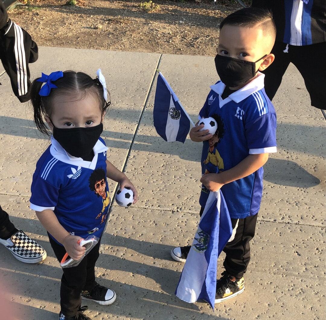 Young Salvadoran fans attend a rally before the Salvadoran-Costa Rica soccer match Saturday