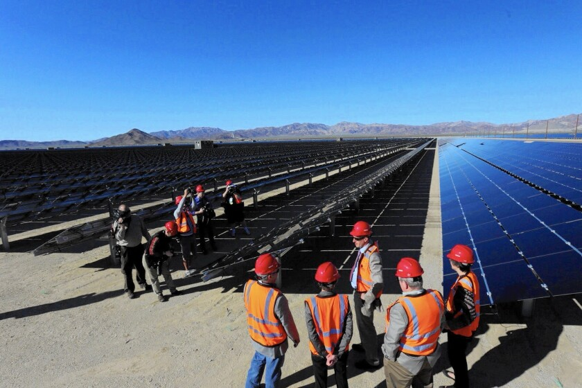 The 550-megawatt Desert Sunlight Solar Farm is dedicated in February. It's one of the largest photovoltaic solar energy farms in the world.